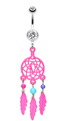 Enchanted Links Dream Catcher Belly Button Ring - 14 GA (1.6mm) - Pink - Sold Individually