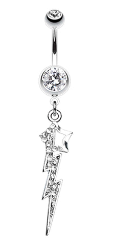 Lightning Star Belly Button Ring - 14 GA (1.6mm) - Clear - Sold Individually