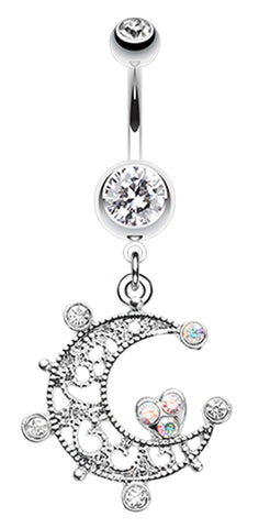 Elegant Sparkle Moon Belly Button Ring - 14 GA (1.6mm) - Clear - Sold Individually