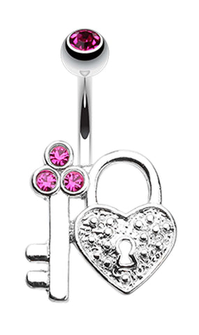 Key to My Heart's Lock Belly Button Ring - 14 GA (1.6mm) - Fuchsia - Sold Individually