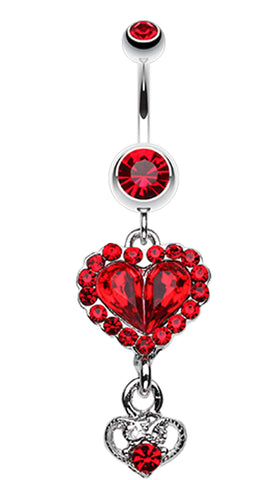 Crystal Heart in Heart Belly Button Ring - 14 GA (1.6mm) - Red - Sold Individually