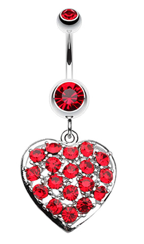 Shimmering Heart Belly Button Ring - 14 GA (1.6mm) - Red - Sold Individually