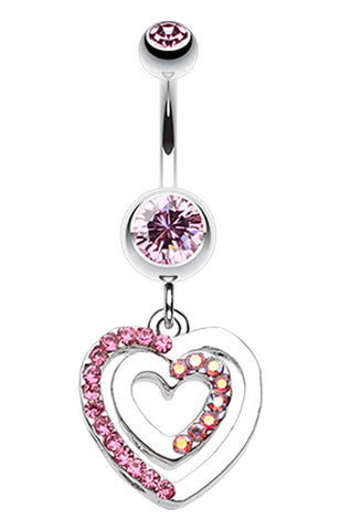 Heart Romance Belly Button Ring - 14 GA (1.6mm) - Light Pink - Sold Individually