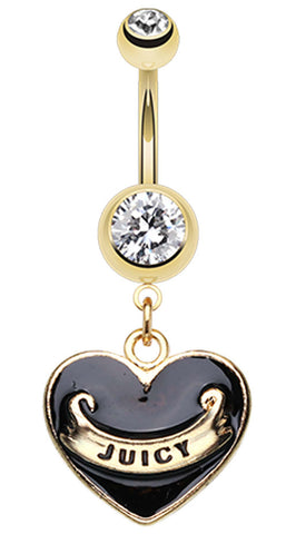 Gold Colored Juicy Banner Heart Belly Button Ring - 14 GA (1.6mm) - Black - Sold Individually