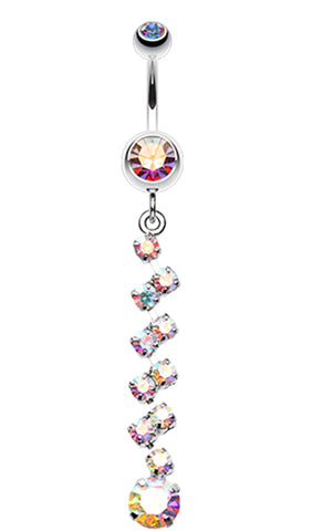 Journey Tier Sparkle Belly Button Ring - 14 GA (1.6mm) - Aurora Borealis - Sold Individually