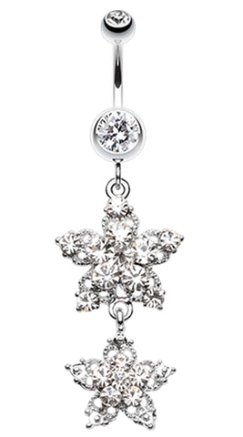 Fleur Glorieux Belly Button Ring - 14 GA (1.6mm) - Clear - Sold Individually