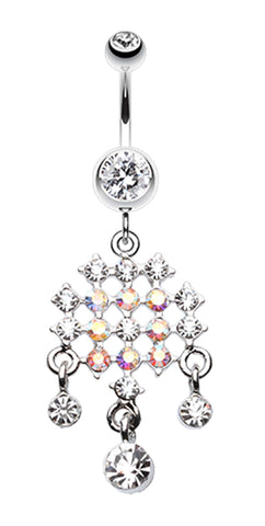 Striking Chandelier Belly Button Ring - 14 GA (1.6mm) - Clear - Sold Individually
