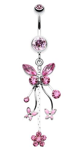 Fluttering Butterflies Belly Button Ring - 14 GA (1.6mm) - Light Pink - Sold Individually