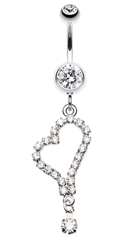 Romantic Curved Heart Belly Button Ring - 14 GA (1.6mm) - Clear - Sold Individually