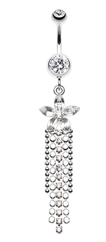 Flower Delight Showers Belly Button Ring - 14 GA (1.6mm) - Clear - Sold Individually