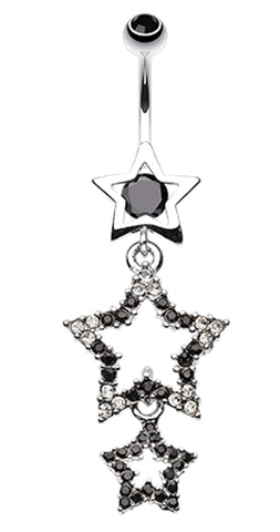 Sparkiling Triple Star Bell Button Ring - 14 GA (1.6mm) - Black - Sold Individually