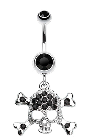 Bedazzled Cross Bones Belly Button Ring - 14 GA (1.6mm) - Black - Sold Individually