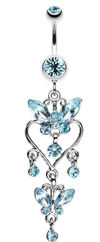 Butterfly Extravagance Belly Button Ring - 14 GA (1.6mm) - Aqua - Sold Individually