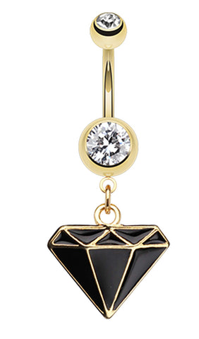 Golden Colored Diamond Shaped Belly Button Ring - 14 GA (1.6mm) - Black - Sold Individually