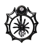 Spider in Web Sparkle Belly Button Ring - 14 GA (1.6mm) - Black - Sold Individually