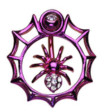 Spider in Web Sparkle Belly Button Ring - 14 GA (1.6mm) - Purple - Sold Individually