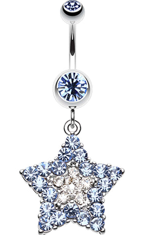 Ultra Dazzle Star Belly Button Ring - 14 GA (1.6mm) - Light Blue - Sold Individually