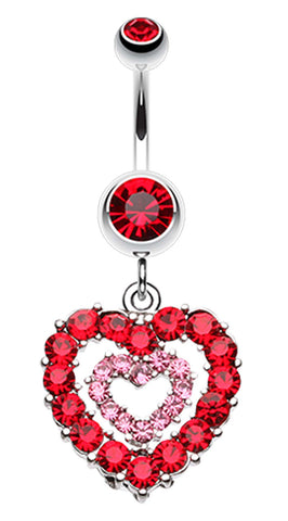 Double Layered Sparkling Heart Belly Button Ring - 14 GA (1.6mm) - Red - Sold Individually