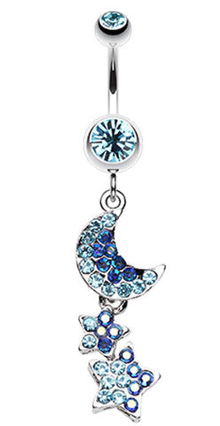 Star and Moon Lit Sky Belly Button Ring - 14 GA (1.6mm) - Aqua - Sold Individually