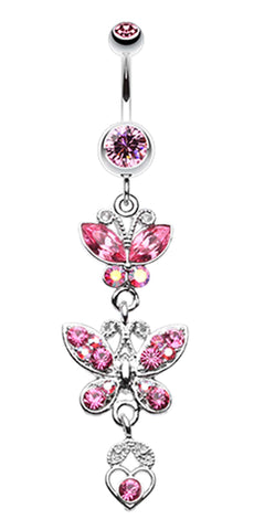 Jeweled Butterflies Belly Button Rings - 14 GA (1.6mm) - Light Pink - Sold Individually