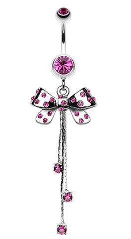 Glistening Polka Dots Bow-Tie Belly Button Ring - 14 GA (1.6mm) - Fuchsia - Sold Individually