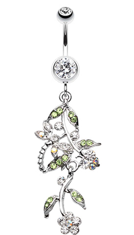 Romantic Vines with Flowers Belly Button Rings - 14 GA (1.6mm) - Clear - Sold Individually