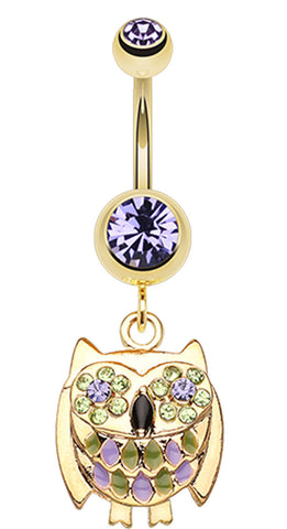 Golden Colored Baby Owl Sparkle Belly Button Ring - 14 GA (1.6mm) - Blue - Sold Individually