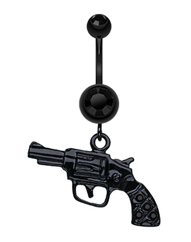 Blackline Pistol Gun Sparkle Belly Button Ring - 14 GA (1.6mm) - Black - Sold Individually