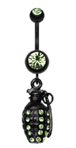 Blackline Hand Grenade Sparkle Belly Button Ring - 14 GA (1.6mm) - Green - Sold Individually