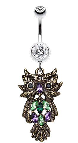 Whimsical Owl Sparkle Belly Button Ring - 14 GA (1.6mm) - Bronze - Sold Individually