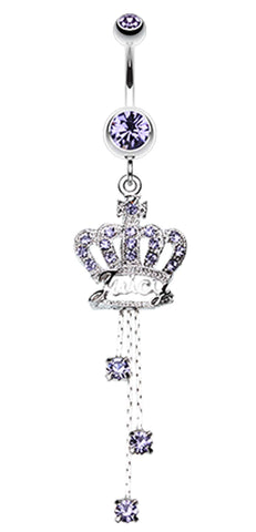 Royal Crown Sparkle Belly Button Ring - 14 GA (1.6mm) - Blue - Sold Individually