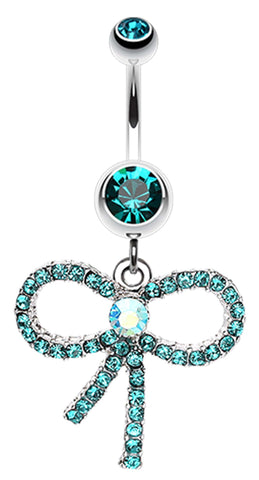 Bedazzle Bow-Tie Ribbon Dangle Belly Button Ring - 14 GA (1.6mm) - Teal - Sold Individually