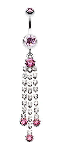 Cascading Sparkle Belly Button Ring - 14 GA (1.6mm) - Light Pink - Sold Individually