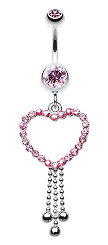 Captivating Heart Belly Button Ring - 14 GA (1.6mm) - Light Pink - Sold Individually