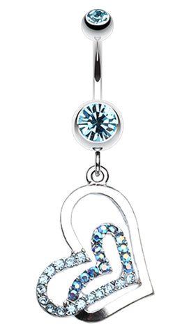 Twinkling Double Heart Belly Button Ring - 14 GA (1.6mm) - Aqua - Sold Individually