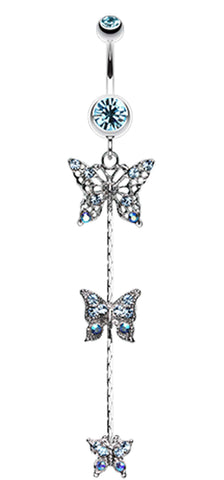 Triple Butterfly Sparkle Belly Button Ring - 14 GA (1.6mm) - Aqua - Sold Individually