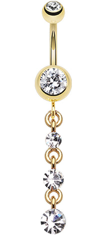 Golden Colored Journey Sparkle Belly Button Ring - 14 GA (1.6mm) - Clear - Sold Individually