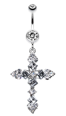 Princess Cut Cross Sparkle Belly Button Ring - 14 GA (1.6mm) - Clear - Sold Individually