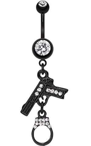 Blackline Handgun & Cuff Sparkle Belly Button Ring - 14 GA (1.6mm) - Clear - Sold Individually