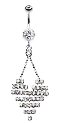 Dreamy Heart Belly Button Ring - 14 GA (1.6mm) - Clear - Sold Individually