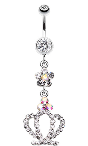 Flower Crown Sparkle Belly Button Ring - 14 GA (1.6mm) - Clear - Sold Individually
