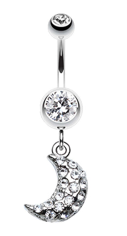 Moon Beam Belly Button Ring - 14 GA (1.6mm) - Clear - Sold Individually