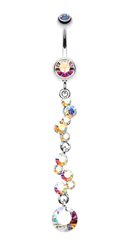 Crystal Journey Swirl Belly Button Ring - 14 GA (1.6mm) - Aurora Borealis - Sold Individually