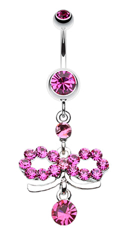 Infinity Dazzle Belly Button Ring - 14 GA (1.6mm) - Fuchsia - Sold Individually