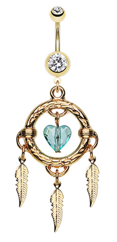 Golden Colored Heart Hoop Dream Catcher Belly Button Ring - 14 GA (1.6mm) - Clear - Sold Individually