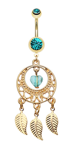 Golden Colored Heart Dream Catcher Belly Button Ring - 14 GA (1.6mm) - Teal - Sold Individually