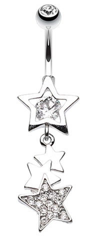 Super Star Belly Button Ring - 14 GA (1.6mm) - Clear - Sold Individually