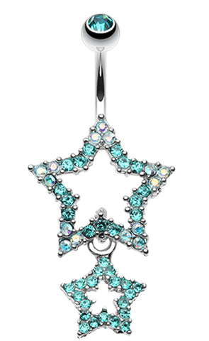 Glistening Double Star Belly Button Ring - 14 GA (1.6mm) - Teal - Sold Individually