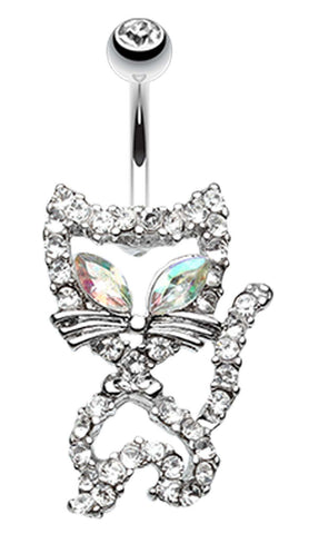 Here Kitty Kitty Belly Button Ring - 14 GA (1.6mm) - Clear - Sold Individually