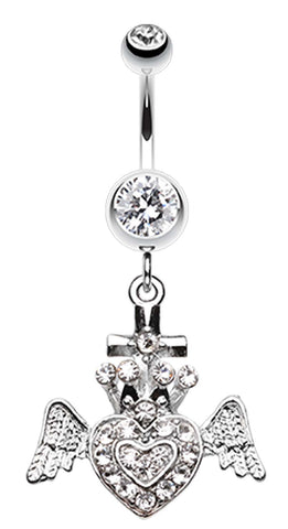 Ultra Bright Crowned Angel Heart and Cross Belly Button Ring - 14 GA (1.6mm) - Clear - Sold Individually